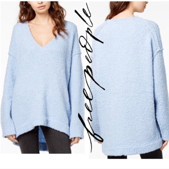 Free People Sweaters - FREE PEOPLE Over-sized Blue V-neck Sweater